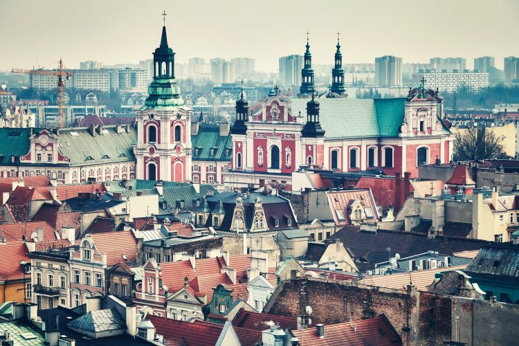 Vintage toned aerial view of Poznan, Poland.